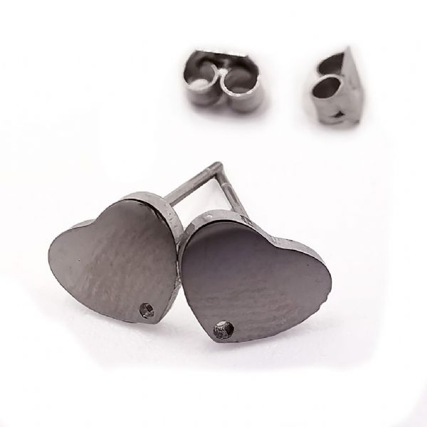 Stainless Steel Stud Earring Heart Plate sets x 8 pcs